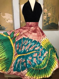 1950s Hand Painted and Sequined Mexican Circle Skirt by Maya
