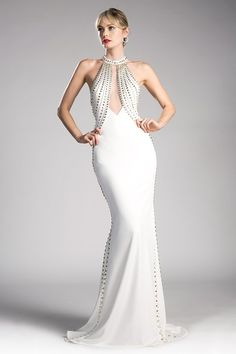 Gold Beaded Long Off White Dress by Cinderella Divine Evening Gowns With Sleeves, White Evening Gowns, Evening Dresses, Off White Dresses, White Gowns, Affordable Evening Gowns, Couture Dresses, Fashion Dresses, Reign Dresses