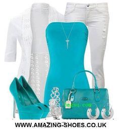 White three quarter sleeve medium length eyelet fitted sweater, white skinny jeans, turquoise tube top, turquoise peep toe platform high heel pumps, turquoise purse, silver watch and hoop earrings with a silver chain necklace.