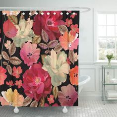 Colorful Shower Curtain, Flower Shower Curtain, Cool Shower Curtains, Floral Shower Curtains, Gold Flowers, Yellow Flowers, Blue Gold, Red And Blue, Color Of Life