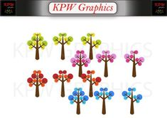 Seasonal Trees Clip-art Set in a PNG format. Personal & Small Commercial use Tree Clipart, Clipart Images, Png Format, Wind Chimes, Commercial, Trees, Clip Art, Invitations, Seasons