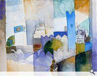 August  Macke: Kairouan III, 1914. Aquarellfarbe über Bleistift auf Zeichenpapier, 22.5 x 28.9 cm; LWL - Landesmuseum für Kunst und Kulturge...