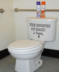 Harry Potter Ministry of Magic Bathroom Quote by superdecals1, $12.99  Great, Dustin will be thrilled.  Thanks to this, I am not thinking of re-decorating my upstairs bathroom in a H.P. theme!