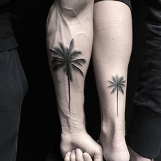 Palm tree tattoo leg men 49 ideas for 2019 Tropisches Tattoo, Tattoos 3d, Tree Tattoo Arm, Tattoo Script, Nature Tattoos, Tattoo Fonts, Trendy Tattoos, Cute Tattoos, Small Tattoos