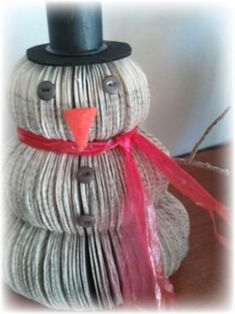 Upcycled book snowman