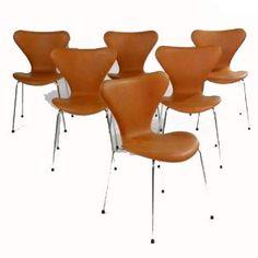 TILBUD: Arne Jacobsen. Seks stole model 3107 (6)