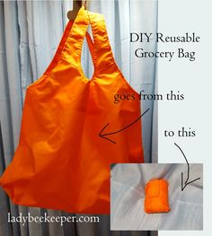 DIY reusable grocery bag that fits in your purse!  Pattern included! http://www.ladybeekeeper.com/diy-reusable-grocery-bag-and-emergency-parachute/