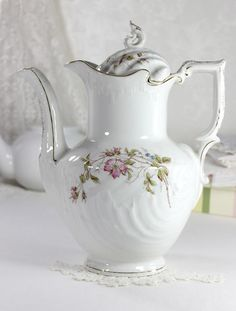 Gesetzlich Geschutzt Porcelain, Antique European Chocolate Pot, Tea or Coffee Pot, Tall Tea Pot 12472