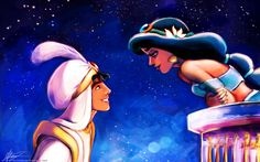 Disney Princess Art: Jasmine and Aladdin Disney Amor, Walt Disney, Disney Couples, Disney Love, Disney Magic, Disney Animation, Animation Film, Wallpaper Iphone Disney, Wallpaper Backgrounds