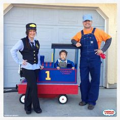 Train Conductor Diy Thomas The Train Family Costumes Halloween Train Conductor Costume Toddler Halloween Train, Family Halloween Costumes, Halloween Kostüm, Baby Costumes, Halloween Pumpkins, Thomas Birthday, Trains Birthday Party, Train Party, 2nd Birthday