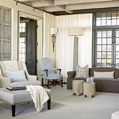 For a beachy look that isn't over the top, the designer filled this Rosemary Beach home with earthy colors and soft, warm textures. | Coastalliving.com
