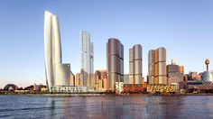 The proposed design for Crown's Barangaroo hotel and casino (far left).