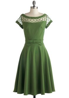 With Only a Wink Dress in Peridot by Tatyana - Green, Solid, Cutout, A-line, Cap Sleeves, Wedding, Party, Vintage Inspired, 50s, Fit & Flare...