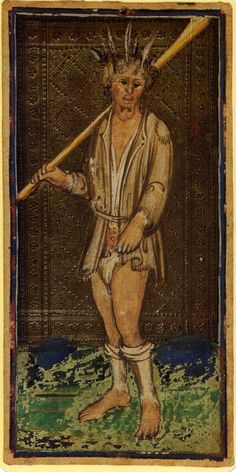 In the Visconti-Sforza tarot deck, the Fool is depicted as a ragged vagabond - Painted by Bonifacio Bembo