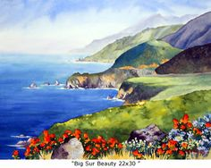 Marie Gabrielle water colors...this one is Big Sur  ...looking Northward.