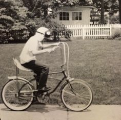 That's me in 1968. Trying to get the bike helmet thing going decades ahead of its time. Early adopter or just nerd?