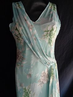 Vintage dress chiffon pale turquoise blue lined