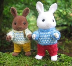 """Knitting pattern for Sylvanian Families & Calico Critters: """"Spotty Jumpers"""" PDF"""