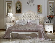 Beautiful French Bedroom Furniture Butterfly Wall Ornament Soft Cream Rug