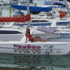 She's a beauty! ...we're talking about the boat, guys! Come on! www.corsairmarine.com #corsair #corsairmarine #sail #sailing #catamarans #cats #trimarans #ocean #nautical #girls #sailingbabe #babes #boats