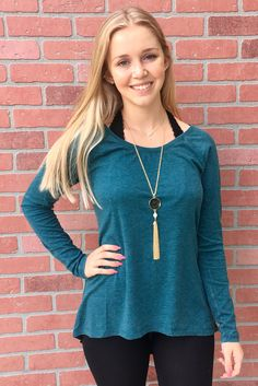 Get through your casual weekends in this long sleeve, soft jersey knit top, finished in our signature burnout fabric.