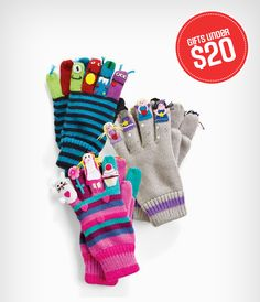 We love these puppet finger gloves! A fun stocking stuffer for the whole family.