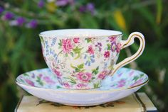 Precious ROSINA Chintz Teacup and Saucer by DadsTeacups on Etsy