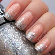 Silver glitter gradient over nude nails