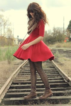 scarf, red dress, tights and boots.