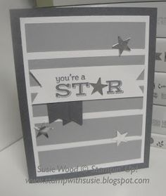 Stampin' Up!- A cool star card using 'Pictogram Punches', along with the Banner punch & small star punch from the Itty Bitty Punch Pack!
