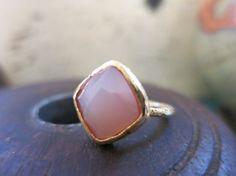 "Pink Chalcedony Diamond Shaped ""Ada"" Ring"