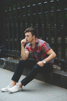 Perfect for spring/ summer, dark denim and checks #menswear #style #fashion