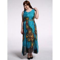 Plus Size High Waist Peacock Print Dress