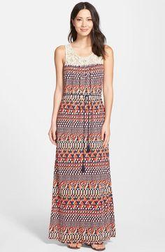NWT! Lucky Brand Crochet Yoke Maxi Dress| SZ M | A181 #LuckyBrand #Maxi