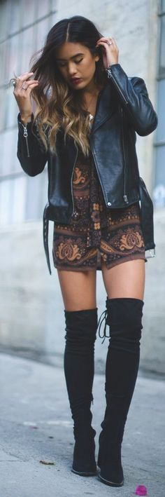 Boho patterned dress with over the knee boots and leather jacket