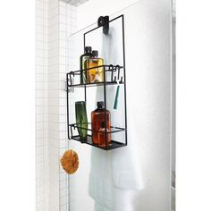 Umbra Black Cubiko 24 Inch Tall Steel Shower Caddy with Two Shelves by Wesley Chau Bathroom Storage Solutions, Shower Storage, Shower Shelves, Shower Caddies, Hanging Shower Caddy, Diy Hanging, Shampoo Bottles, Small Showers, Large Shelves