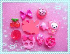 DIY Mix kawaii 9pcs Pink Kawaii flatback cell phone case cabochon Deco Kit