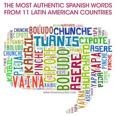 The most authentic Spanish words of Argentina, El Salvador, Colombia, Costa Rica, Cuba, Ecuador, Guatemala, Honduras, Mexico, Nicaragua and Peru. Read the full article here: http://www.speakinglatino.com/authentic-spanish-words/