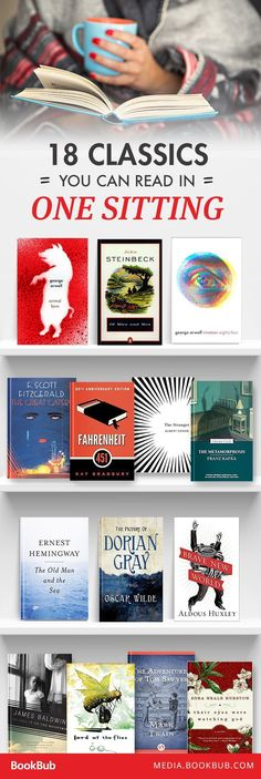 18 Classics to Read in One Sitting 18 classic books to read in one sitting. Books And Tea, I Love Books, Good Books, Books To Read, Ya Books, Book Challenge, Reading Challenge, Book Suggestions, Book Recommendations