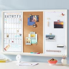 Study Wall Boards - White Frame Triple from PBteen. Saved to Dorm Room. Shop more products from PBteen on Wanelo. Desk Storage, Smart Storage, Desk Organization, White Board Organization, Organizing, My New Room, My Room, Dorm Room, Space Saving Desk