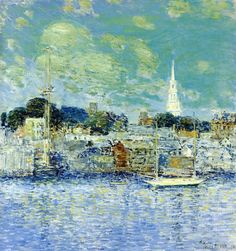"""""""Newport Waterfront"""", Childe Hassam, 1901, Oil on canvas, 26.25 x 24.13"""", Flint Institute of Arts."""