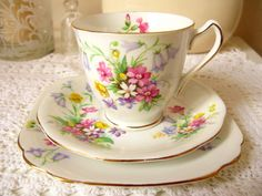 Old Country Spray Teacup, saucer and plate.