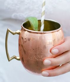 Engraved Copper Moscow Mule Mug Replete with Icy Gingery Cocktail - Calder Clark