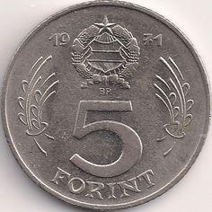 Wertseite: Münze-Europa-Mitteleuropa-Ungarn-Forint-5.00-1971-1982 Hungary History, World Coins, Coin Collecting, My Childhood, 1, Bronze, Money, Cool Stuff, Photography