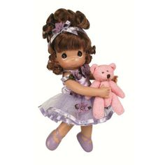 A little ballerina for your prima-ballerina. Holding her beloved teddy bear, this tiny dancer looks sweet dressed in her purple tutu, slippers, and a matching ribbon in her brown hair. Precious Moments Wedding, Precious Moments Figurines, Crochet Humor, Little Ballerina, Just Because Gifts, Vinyl Dolls, Doll Stands, Monster High Dolls, Tissue Box Covers