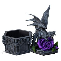 Anne Stokes Gothic Dragon Beauty Box Statue Trinket Jewelry Box Purple Rose Caja Rosa Morado - Buy Online in United Arab Emirates. Anne Stokes, Dark Beauty, Beauty Box, Gothic Shop, Victorian Gothic, Shops, Rose Decor, Small Sculptures, Unusual Jewelry