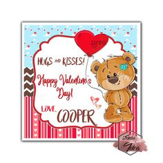 Valentine's day Custom Printable Tags- Tags-Happy Valentine's Day Personalized inches Tags- Stickers DIY Favor Tags- Teddy Bear -Heart Balloon Valentines tags Valentines Day Teddy Bear, Valentine Theme, Happy Valentines Day, Printable Tags, Printables, Heart Balloons, Paper Tags, Diy Stickers, Sticker Paper