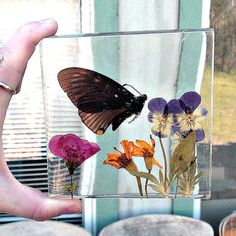 handpicked pressed and dried genuine flowers with genuine butterfly enclosed in clear casting resin, Coaster. Nature inspired, home decor.