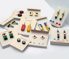Lego has always been a popular toy for children around the world. Now you can get jewellery made out of Lego pieces, a great innovation don't you think? The extra pieces are for you to make d… Lego Jewelry, Cute Jewelry, Jewelry Crafts, Jewlery, Gold Jewellery, Silver Jewelry, Funky Earrings, Diy Lego Earrings, Diy Earrings Easy