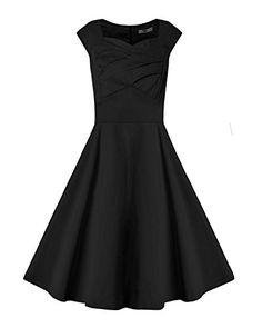 Women's Party Dress 1950s Vintage Solid Color Swing Stret... https://www.amazon.com/dp/B01H5HEBZ0/ref=cm_sw_r_pi_dp_x_k10BybT0NJFWG